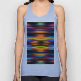vintage psychedelic geometric abstract pattern in orange brown blue yellow Unisex Tank Top