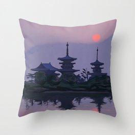 Yakushiji at Sunset Throw Pillow