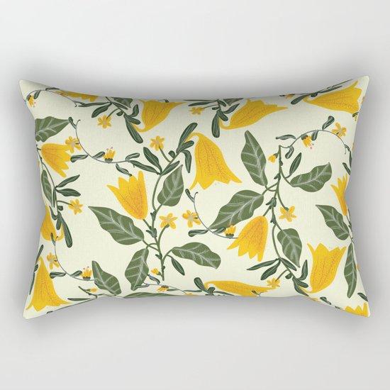 Yellow Bright Flower Pattern Rectangular Pillow