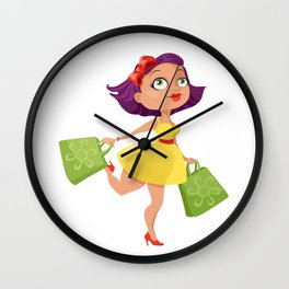 Shopping Girl Wall Clock
