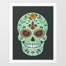 Colorful Skull I Art Print