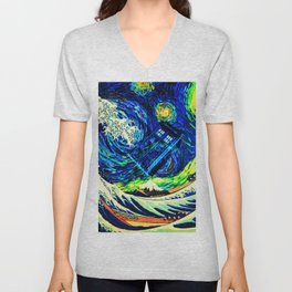 tardis starry night Unisex V-Neck