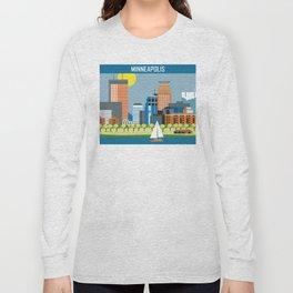 Minneapolis, Minnesota - Skyline Illustration by Loose Petals Long Sleeve T-shirt