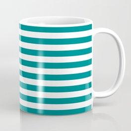 Horizontal Stripes (Teal/White) Coffee Mug