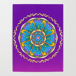 Seahorse Mandala on Purple Gradient Halftone Poster