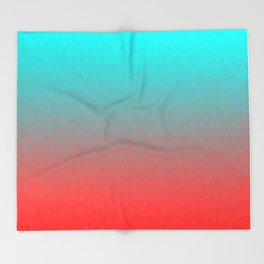 Cyan to red ombre flames Miami Sunset Throw Blanket
