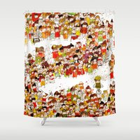bees Shower Curtains featuring Bees by Rafaela Rodrigues