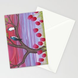 tree swallows & tulips at sunrise Stationery Cards