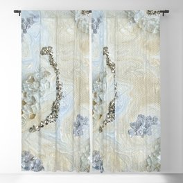 Neutral Glam Abstract Agate Geode Crystal Painting Blackout Curtain