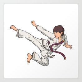 Karate jump kick Art Print