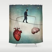 christian Shower Curtains featuring The Balance by Christian Schloe