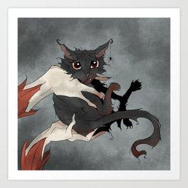 Naughty Vampire Cat Art Print