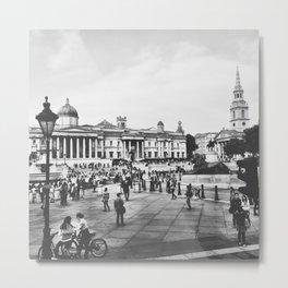 Trafalgar Square: B&W Metal Print