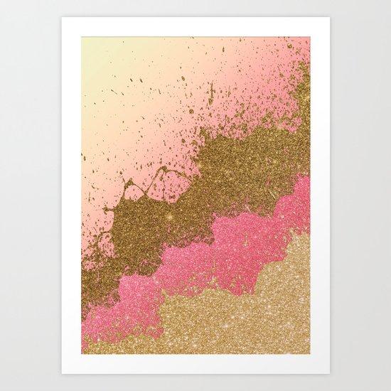 Golden pink shadows Art Print