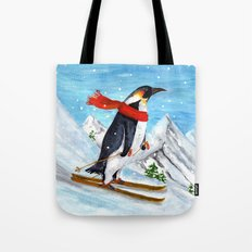 Penguin Alpine Skiing Tote Bag