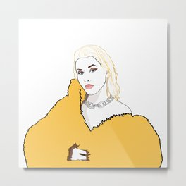 CHRISTINA AGUILERA LIBERATION Yellow Fur Jacket Metal Print