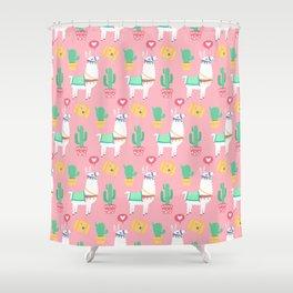 Cute Alpaca & Cactus Pattern Shower Curtain