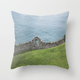 Where the ocean meets the land. Green/blue landscape with an old wall in Ireland / fine art seascape Throw Pillow