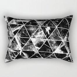 Geometric Whispers - Abstract, black and white triangular, geometric pattern Rectangular Pillow