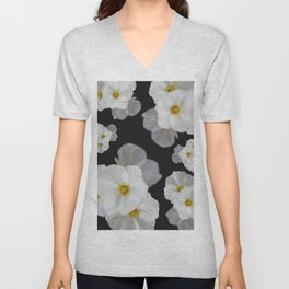 White blossom flower in pattern Unisex V-Neck