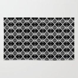 Triangles Diamonds Black & White Geometric Print Rug