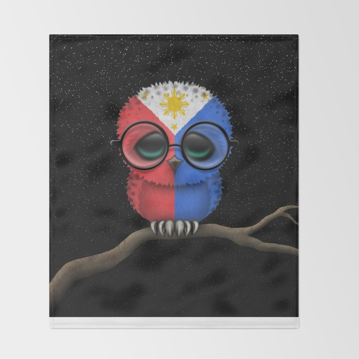 Baby Owl with Glasses and Filipino Flag Throw Blanket