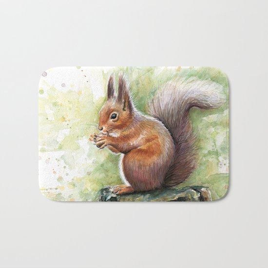 Squirrel and Nut Forest Animals Watercolor Bath Mat