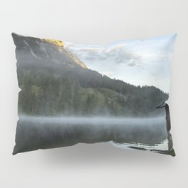 Misty Lake Portrait wide angle with boathouse. Amazing shot of a wooden house in the Ferchensee lake in Bavaria, Germany, in front of a mountain belonging to the Alps. Scenic foggy morning scenery at sunrise. Pillow Sham