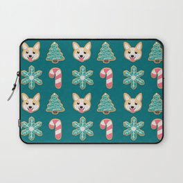 Holiday Cookies - Corgi, Christmas Tree, Snowflake and Candy Cane, Sweet and Cute Festive Pattern in Teal Green, Pink and Beige Laptop Sleeve