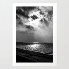 Sun behind clouds (B&W) Art Print