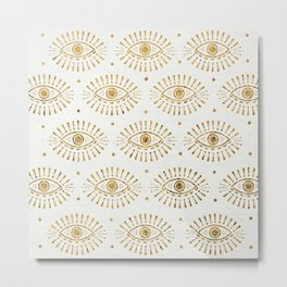 Evil Eyes Gold Metal Print