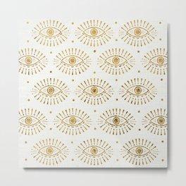 Evil Eyes Gold Metal Print
