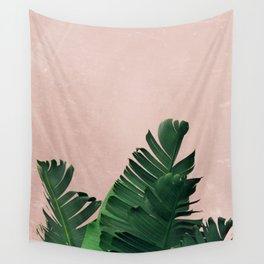 Banana Leaves on Pink Wall Tapestry