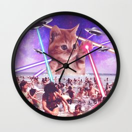 cat invader from space galaxy marsians attacking beach Wall Clock