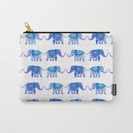 HAPPY ELEPHANTS - WATERCOLOR BLUE PALETTE Carry-All Pouch