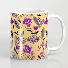 Flower yellow purple floral plants botanical retro vintage print Coffee Mug