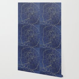 Rome Blue and Gold Street Map Wallpaper