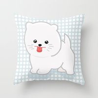pomeranian Throw Pillows featuring White Pomeranian by Pati Designs