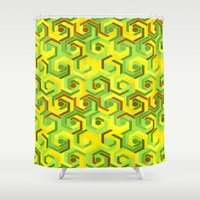 60s Shower Curtains featuring Back in the 60s neon green by MehrFarbeimLeben