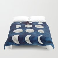 moon phases Duvet Covers featuring Moon phases by Bridget Davidson