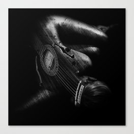 Guitar Woman Black and White Canvas Print