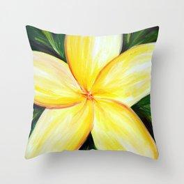 Aloha; White Plumeria Throw Pillow
