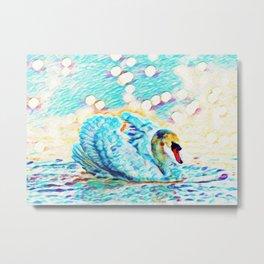 Swan Life | Painting  Metal Print