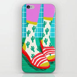 Sliders - memphis throwback retro neon 1980s 80s style pop art shoe fashion grid pattern socks iPhone Skin