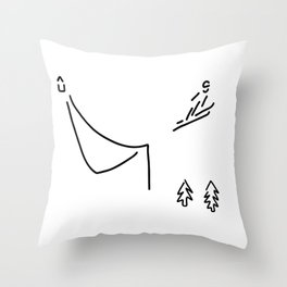 ski jumper digs ski jumping fly Throw Pillow