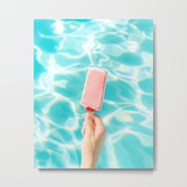 Popsicle Art Hot Day Blue Pink Pool side summer heat Parker Palm Springs  Metal Print