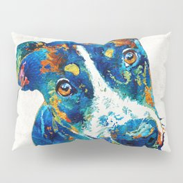 Colorful Dog Art - Happy Go Lucky - By Sharon Cummings Pillow Sham