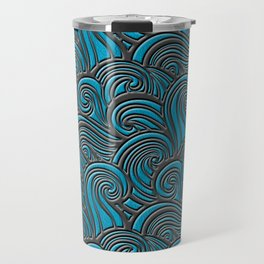 Waves Leather Pattern Blue and Gray Travel Mug