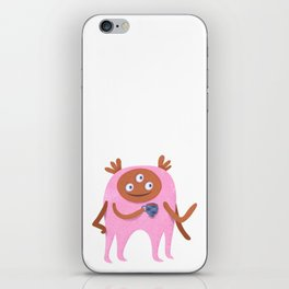 Neon pink Retro monster enjoying a cup of tea iPhone Skin