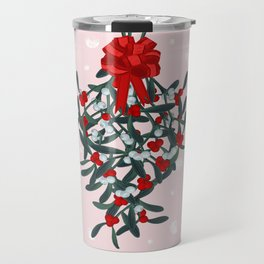Elegant Mistletoe Holiday Design Travel Mug